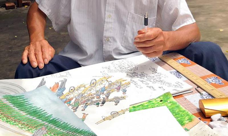 """坚持""""涂鸦"""" ,成了""""画家""""——河南驻马店一农民绘画作品入选七九八艺术展"""