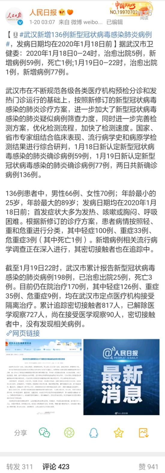警报!北京深圳首次发现新型肺炎病例 武汉昨日突增136例