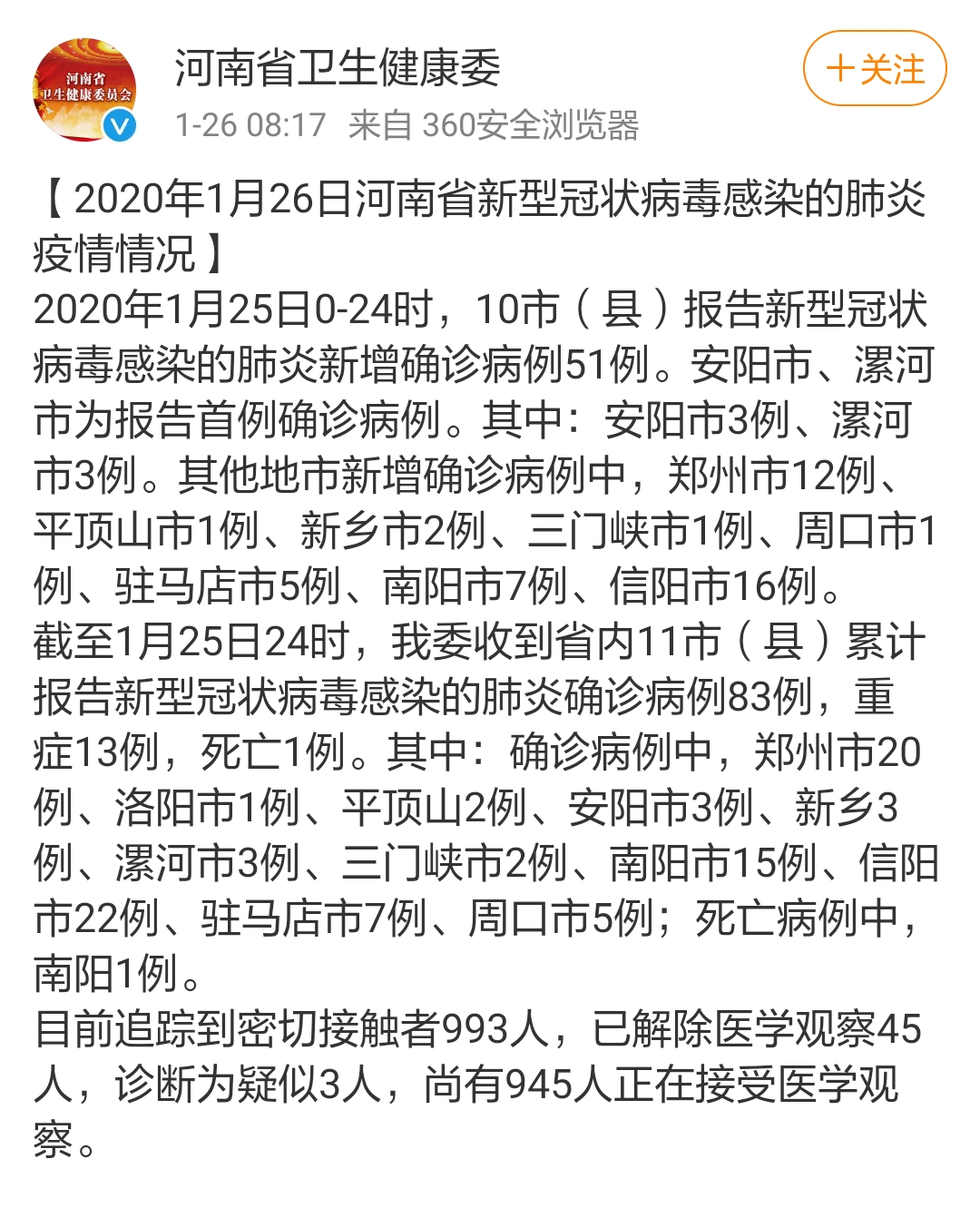 河南1月26日确诊新型肺炎病例已达83例 南阳出现省内首例死亡