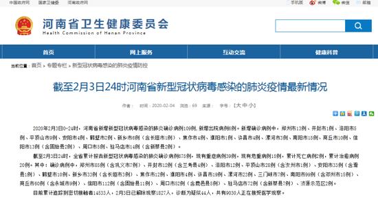 河南2月3日新增新冠肺炎确诊109例 累计675例