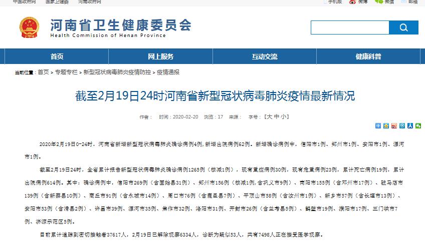 河南2月19日新增新冠肺炎确诊4例 累计1265例 治愈614例