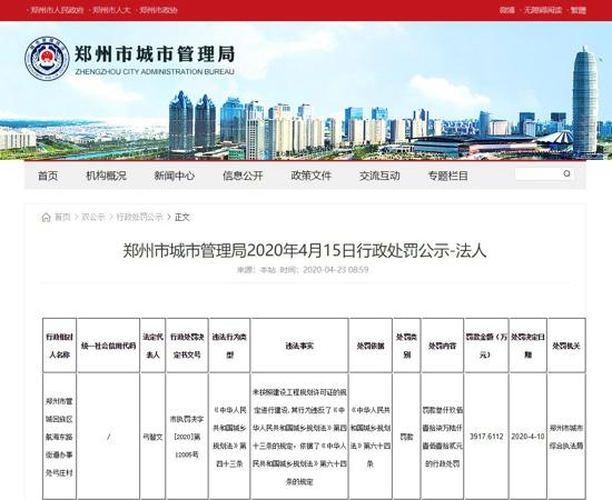 郑州管城区弓庄村未按规划许可证建设被罚款近4000万元