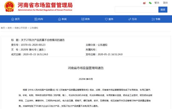 河南省市场监督管理局: 车用柴油等27批次产品质量不合格