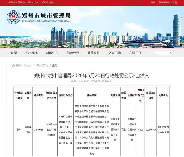 无证擅自施工!世茂房地产旗下郑州丰益置业被罚款超百万元