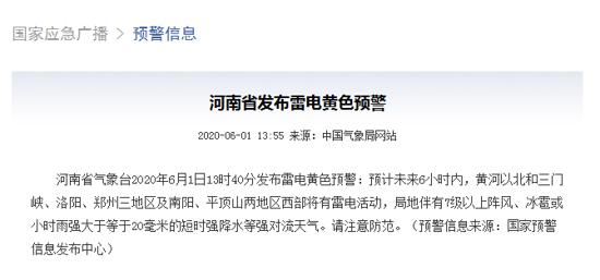 雷电+七级风+冰雹 河南省发布雷电黄色预警