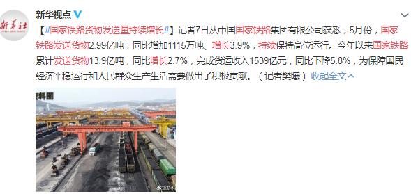 国家铁路货物发送量持续增长 网友:为工人点赞