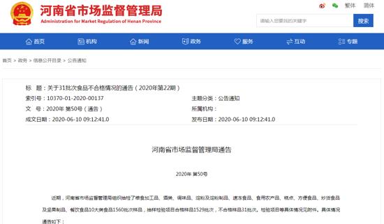 河南通告31批次食品不合格 永辉超市、世纪华联超市上榜