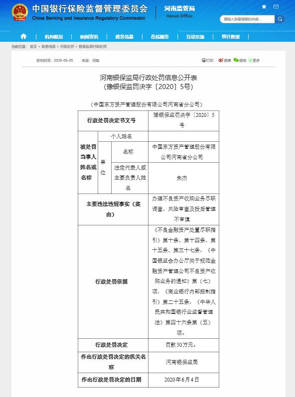 东方资产河南省分公司因办理不良资产收购业务不审慎被罚50万元