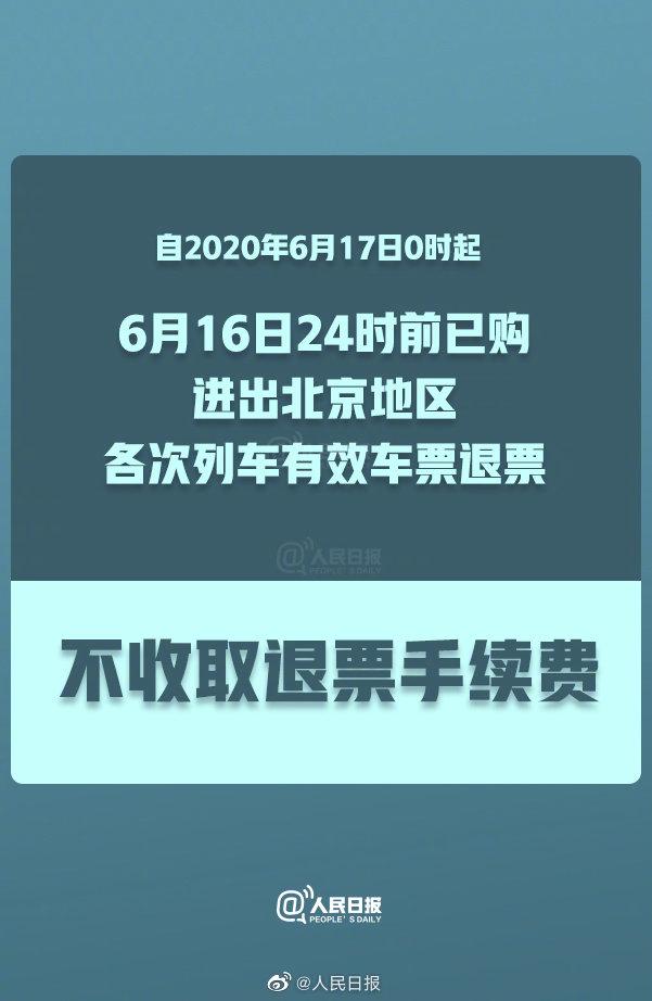铁路部门:6月16日24时前已购进出北京车票免收退票费