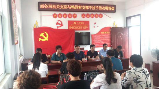 """汝南县商务局和三桥镇鸭湖村开展结队共建""""手拉手""""活动"""