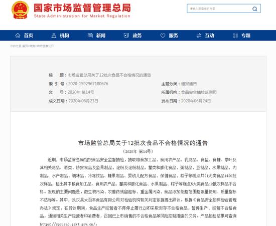 市场监管总局通告12批次食品不合格 漯河粮乐食品生产的粗粮锅巴质量不达标