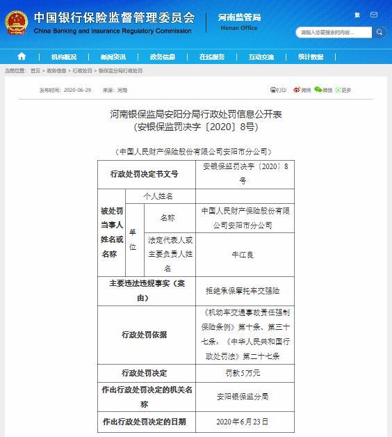 中国人保财险河南安阳分公司拒绝承保摩托车交强险被罚款