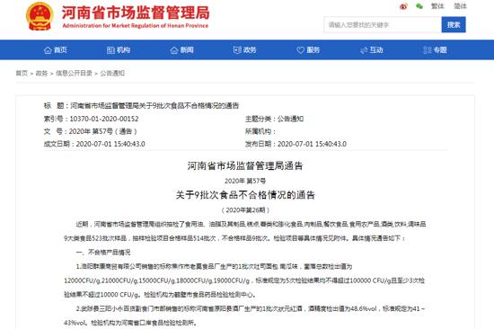 河南通告9批次食品不合格 原阳县酒厂生产的1批次狀元紅酒上榜