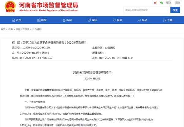 河南通告10批次食品不合格 新乡市申旺商贸、尉氏县宸宇商贸所售产品上榜
