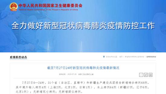 31省份新增确诊68例,其中本土64例(新疆57例 辽宁6例 北京1例)