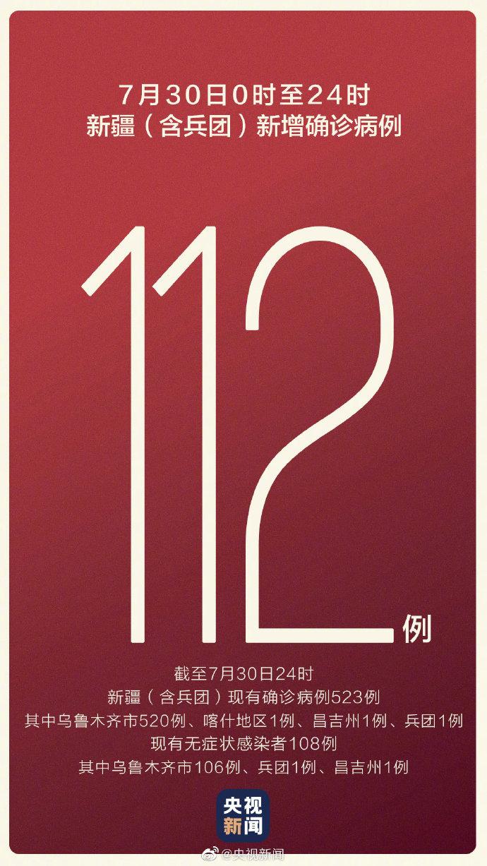 新疆新增本土病例112例 目前有12416人正接受医学观察