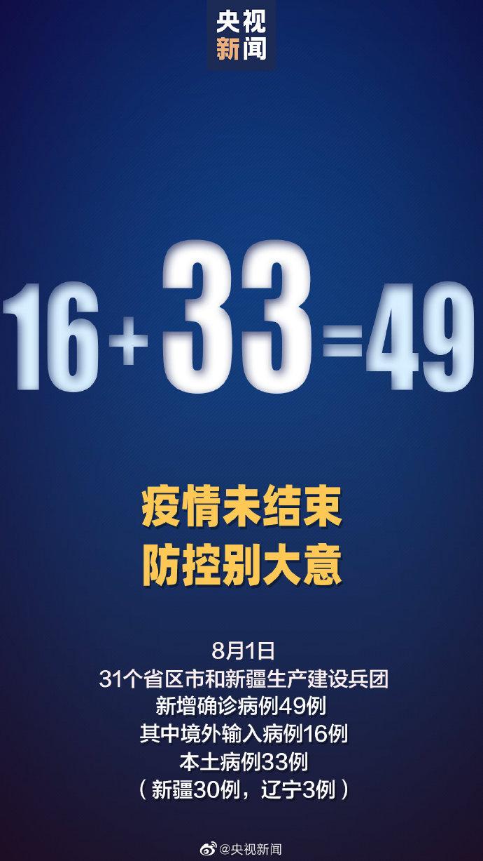 31省区市新增49例确诊 其中本土病例33例、境外输入16例