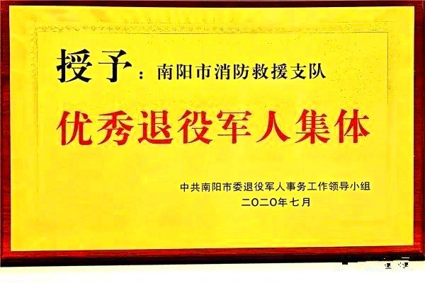 """南阳市消防救援支队喜获全市""""优秀退役军人集体奖"""""""