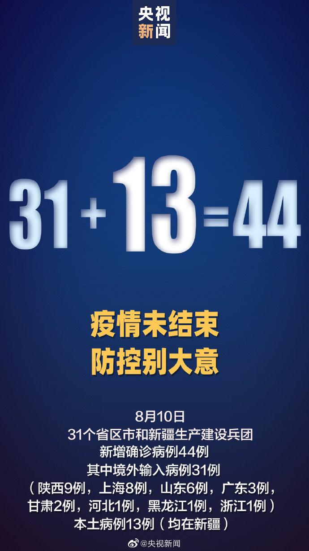 31省区市新增44例确诊 新疆新增13例本土病例