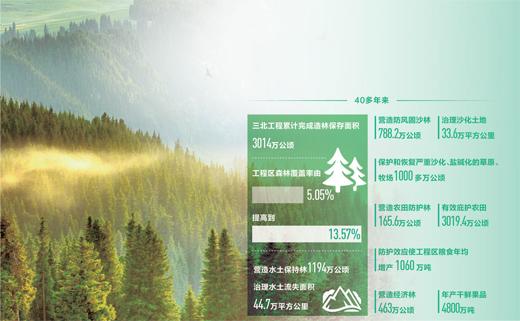 统筹生态治理与民生改善 三北工程造林保存面积超3000万公顷