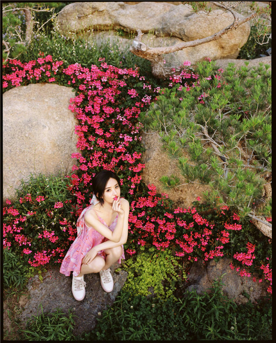 赵丽颖身穿粉色吊带裙置身于花草之间 静谧优雅