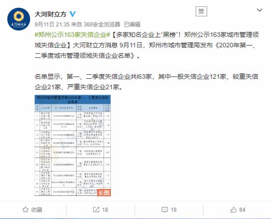 """郑州公示163家城市管理领域失信企业 多家知名企业上""""黑榜""""!"""