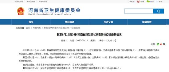 截至9月12日24时河南省新型冠状病毒肺炎疫情最新情况