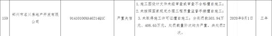 郑州市名川房地产开发有限公司因未取得施工许可证擅自施工等原因被列入严重失信名单