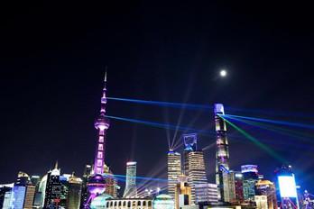"""上海:灯光璀璨迎""""双节"""""""