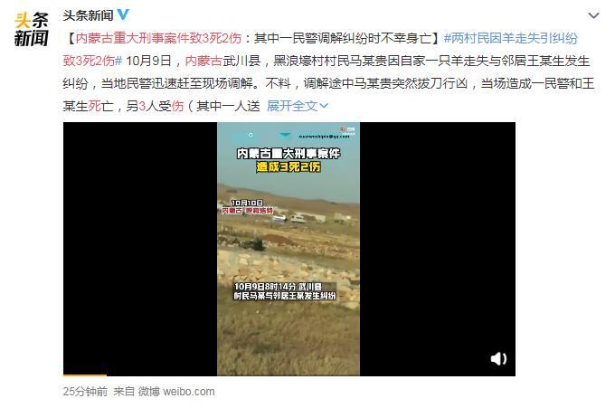 内蒙古重大刑事案件致3死2伤 网友:因为一只羊值吗?太恐怖了