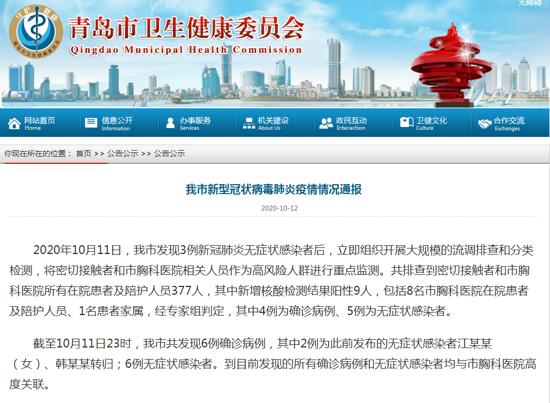 10月11日青岛新增9例核酸检测阳性病例 其中4例为确诊病例