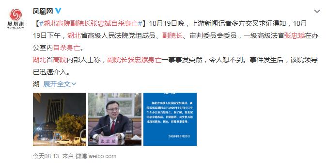 湖北高院副院长张忠斌自缢死亡 网友:好人要自杀 坏人也要自杀