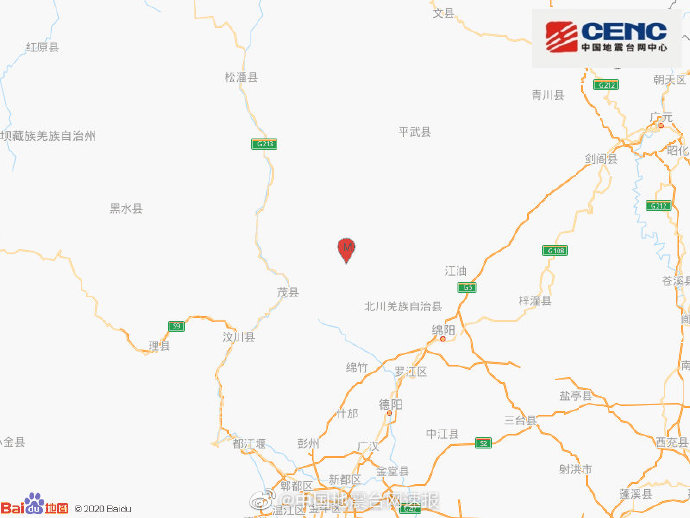 四川绵阳市北川县发生4.6级地震 当地网友反馈震感明显