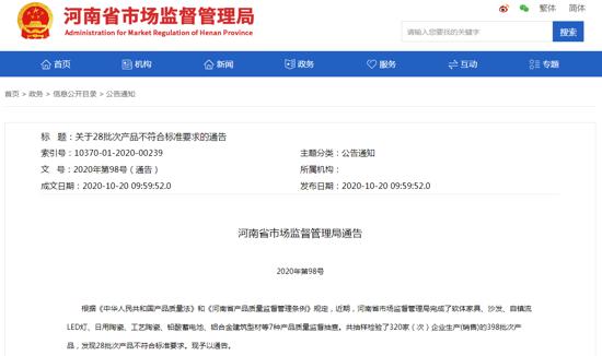 河南通告28批次产品不合格 郑州丹尼斯百货、万果园购物中心等商超产品上榜