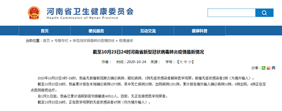 截至10月23日24时河南省新增无症状感染者2例 均为境外输入