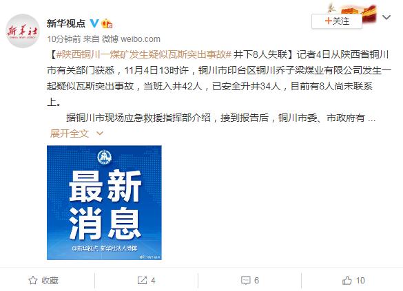 快讯!陕西铜川一煤矿发生疑似瓦斯突出事故 井下8人失联