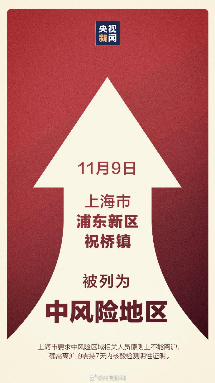 上海浦东新区祝桥镇被列为中风险地区 其他区域风险等级不变