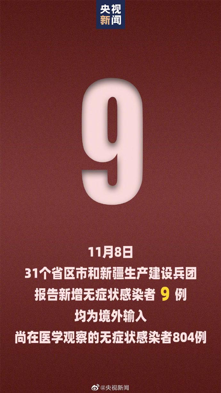 11月8日31省区市新增33例确诊 新增无症状感染者9例