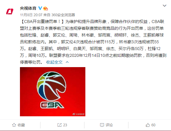 CBA开出重磅罚单! 中国篮球明星郭艾伦被罚115万 林书豪违规被罚55万