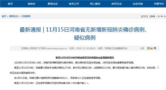 11月15日河南省无新增新冠肺炎确诊病例、 疑似病例