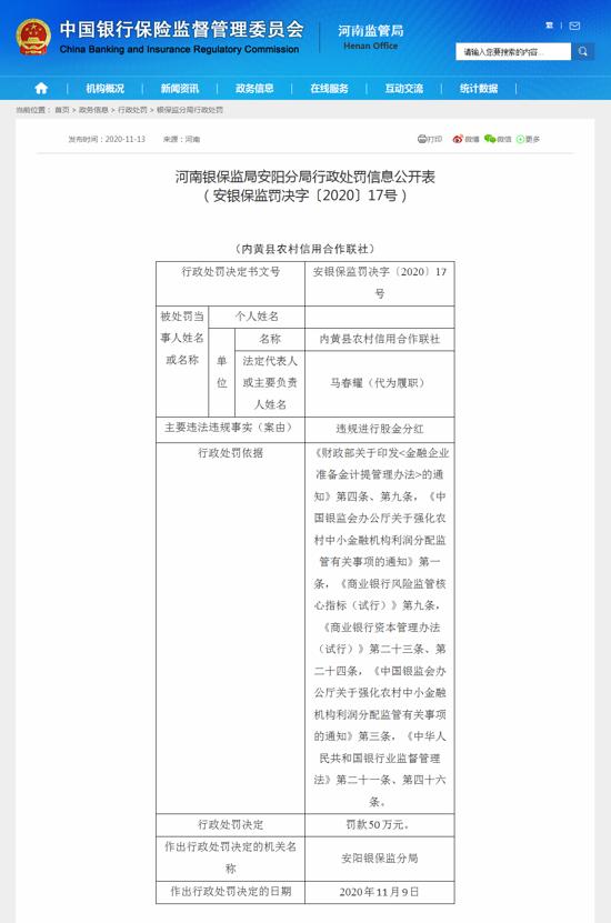 内黄县农村信用合作联社因违规进行股金分红被罚款50万元