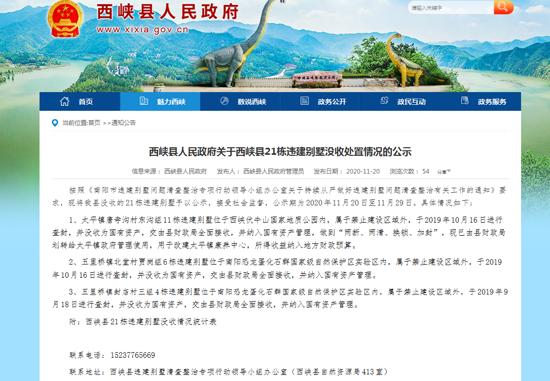 河南西峡:没收伏牛山地质公园及南阳恐龙蛋保护区21栋违规别墅