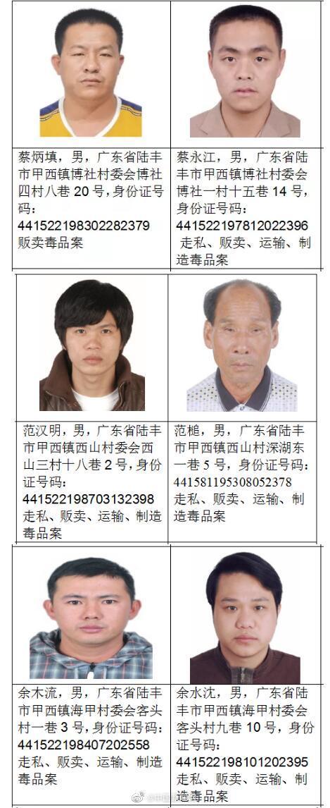 广东陆丰通缉18名涉毒逃犯:每举报一人奖励80万