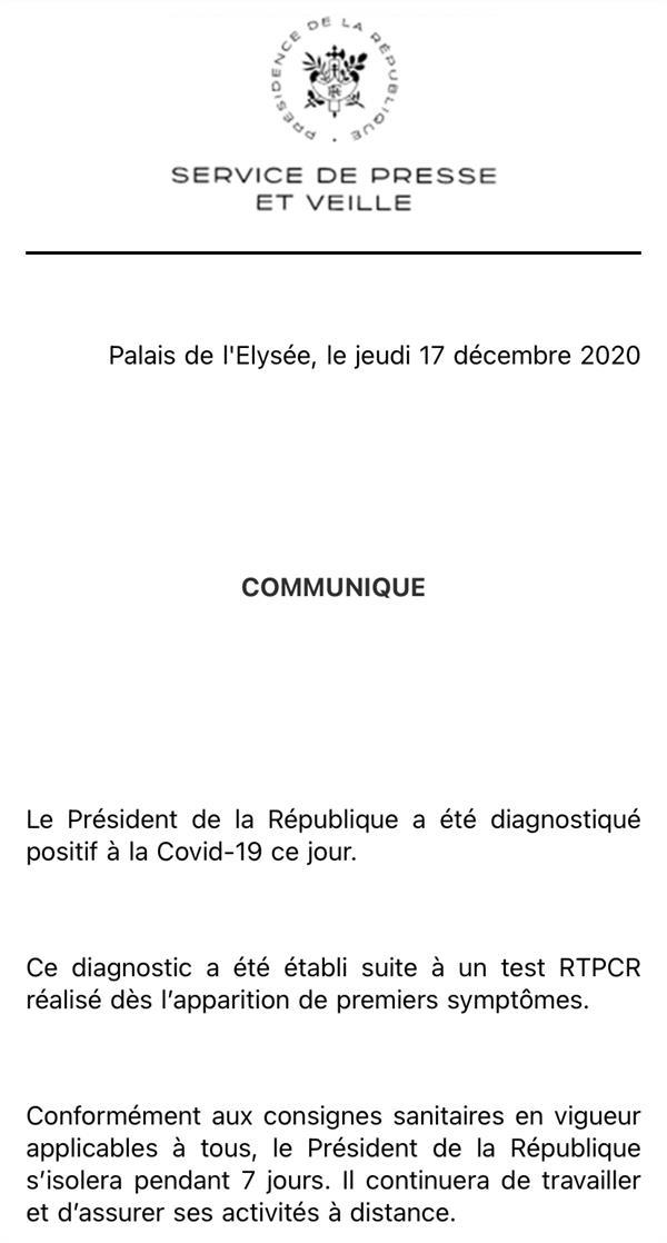 法国总统马克龙新冠病毒检测结果呈阳性