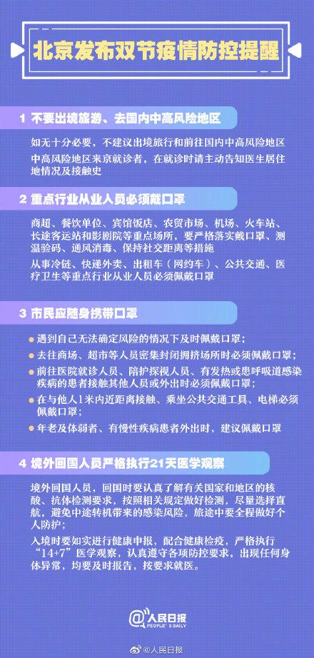 北京发布双节疫情防控提醒:防疫不可松懈!4种情况必须戴口罩!