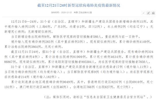 官方消息!31省区市新增确诊15例 含本土2例