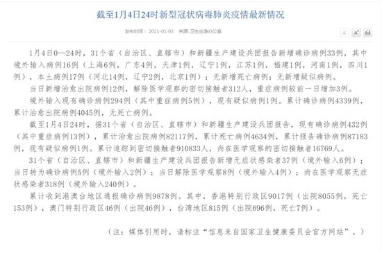 官方消息!31省区市新增确诊33例 含本土17例