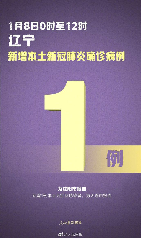 1月8日0时至12时,沈阳新增1例本土确诊病例 详情公布