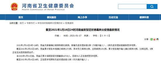 1月16日河南省无新增确诊病例和疑似病例