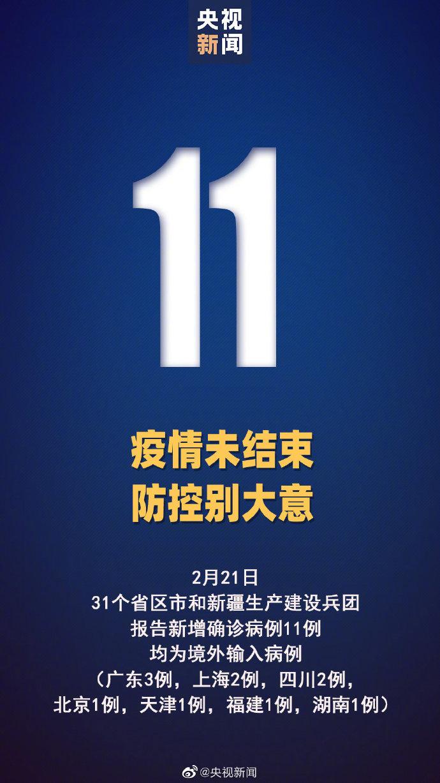 31省区市新增11例确诊均为境外输入
